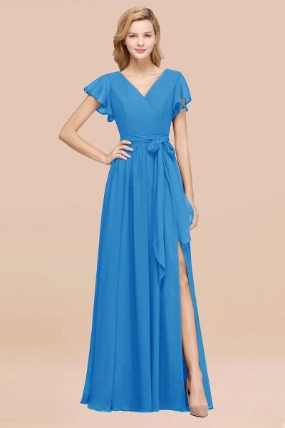 elegant A-line Chiffon V-Neck Short-Sleeves Floor-Length Bridesmaid Dresses with Bow Sash_25