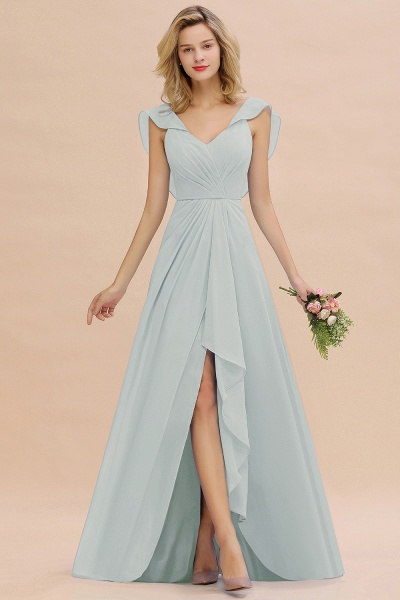 BM0777 Simple Hi-Lo V-Neck Ruffles Long Bridesmaid Dress_38