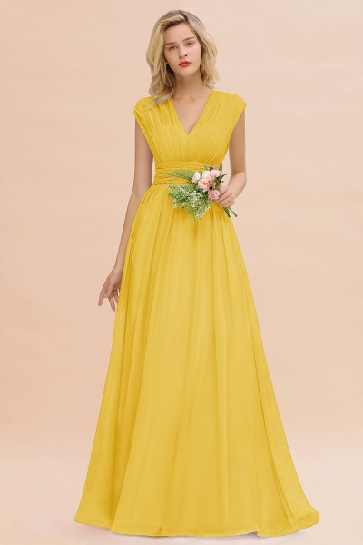 BM0774 Chiffon V-Neck Sleeveless Elegant A-line Ruffles Bridesmaid Dress_17