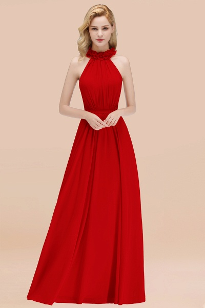 A-line Chiffon Halter Sleeveless Ruffled Floor Length Bridesmaid Dresses_8