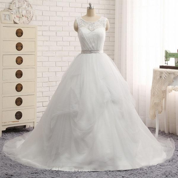 Affordable Long Princess Jewel Tulle Lace Wedding Dress_6