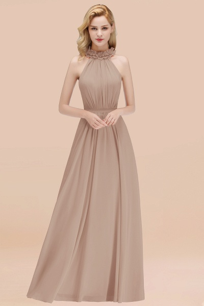 A-line Chiffon Halter Sleeveless Ruffled Floor Length Bridesmaid Dresses_16