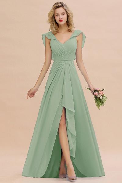 BM0777 Simple Hi-Lo V-Neck Ruffles Long Bridesmaid Dress_41