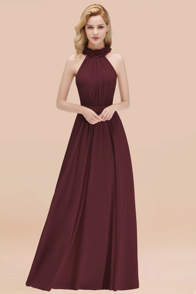 A-line Chiffon Halter Sleeveless Ruffled Floor Length Bridesmaid Dresses_47