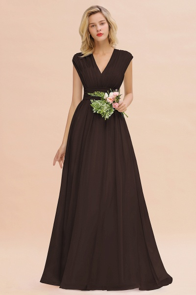 BM0774 Chiffon V-Neck Sleeveless Elegant A-line Ruffles Bridesmaid Dress_11