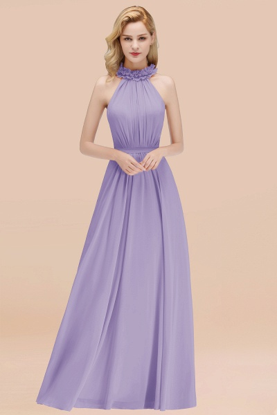 A-line Chiffon Halter Sleeveless Ruffled Floor Length Bridesmaid Dresses_21