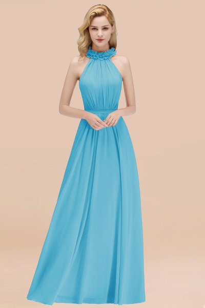 A-line Chiffon Halter Sleeveless Ruffled Floor Length Bridesmaid Dresses_24