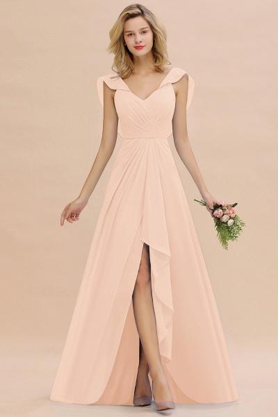 BM0777 Simple Hi-Lo V-Neck Ruffles Long Bridesmaid Dress_5