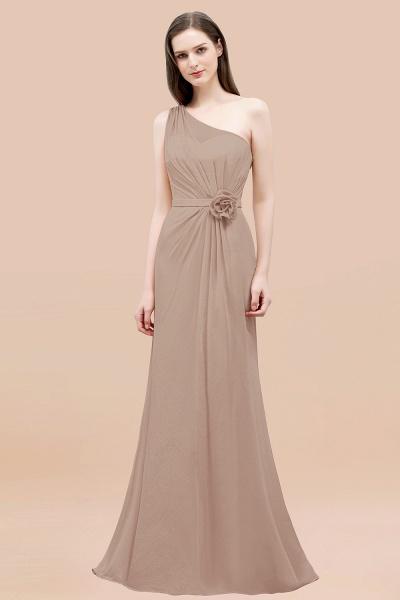 Mermaid Chiffon One-shoulder Sleeveless Ruffled Floor-Length Bridesmaid Dresses with Flower_16