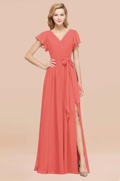 elegant A-line Chiffon V-Neck Short-Sleeves Floor-Length Bridesmaid Dresses with Bow Sash_7