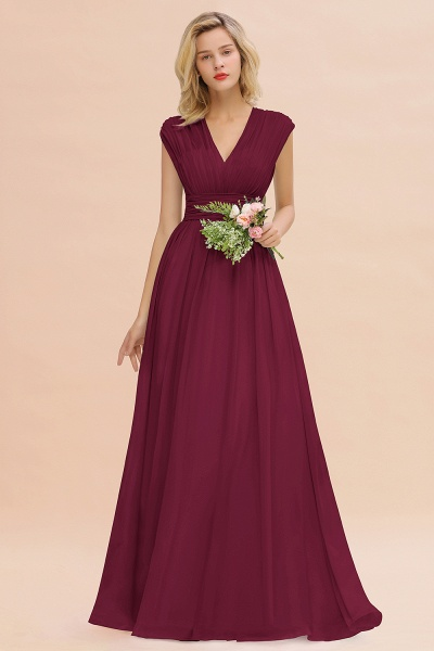 BM0774 Chiffon V-Neck Sleeveless Elegant A-line Ruffles Bridesmaid Dress_44