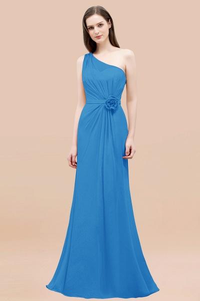 Mermaid Chiffon One-shoulder Sleeveless Ruffled Floor-Length Bridesmaid Dresses with Flower_25