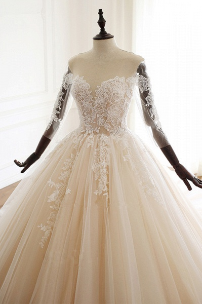 Chic Long Ball Gowns Sweetheart Tulle Lace Wedding Dress with Sleeves_4