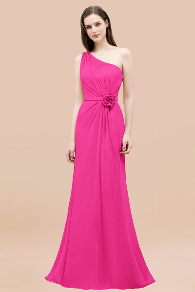 Mermaid Chiffon One-shoulder Sleeveless Ruffled Floor-Length Bridesmaid Dresses with Flower_9