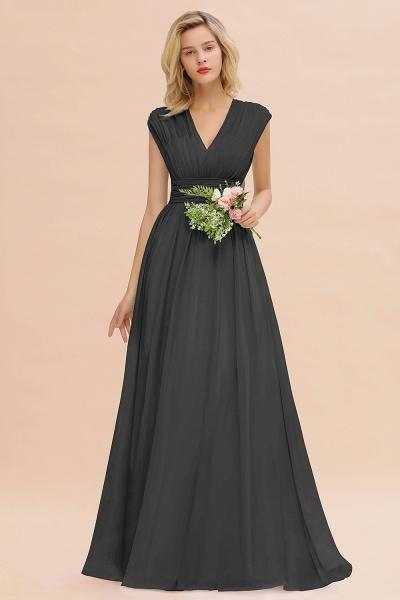 BM0774 Chiffon V-Neck Sleeveless Elegant A-line Ruffles Bridesmaid Dress_46