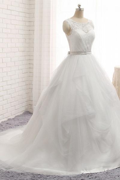 Affordable Long Princess Jewel Tulle Lace Wedding Dress_3