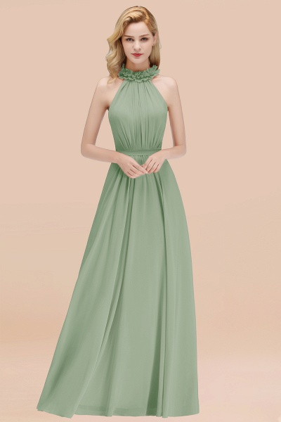 A-line Chiffon Halter Sleeveless Ruffled Floor Length Bridesmaid Dresses_41