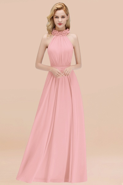 A-line Chiffon Halter Sleeveless Ruffled Floor Length Bridesmaid Dresses_4