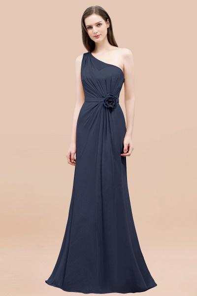 Mermaid Chiffon One-shoulder Sleeveless Ruffled Floor-Length Bridesmaid Dresses with Flower_39