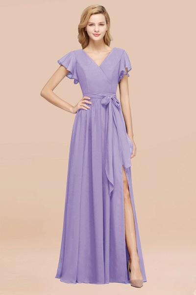 elegant A-line Chiffon V-Neck Short-Sleeves Floor-Length Bridesmaid Dresses with Bow Sash_21