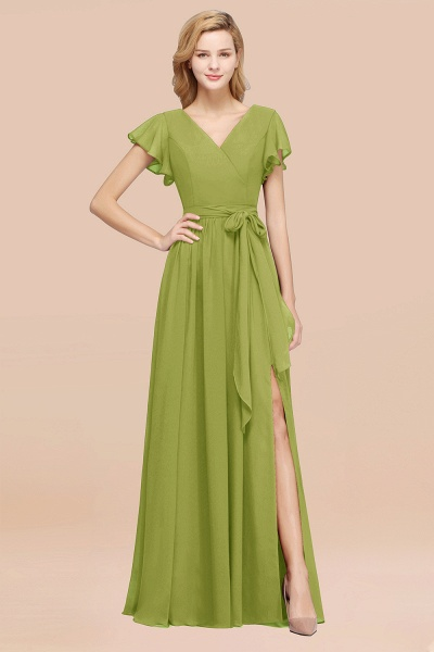 elegant A-line Chiffon V-Neck Short-Sleeves Floor-Length Bridesmaid Dresses with Bow Sash_34
