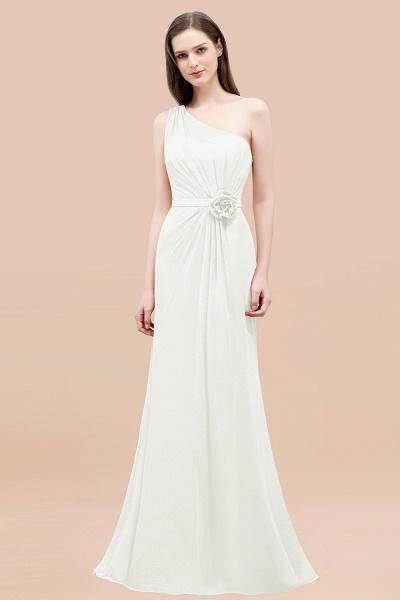 Mermaid Chiffon One-shoulder Sleeveless Ruffled Floor-Length Bridesmaid Dresses with Flower_2