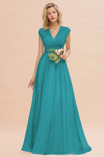 BM0774 Chiffon V-Neck Sleeveless Elegant A-line Ruffles Bridesmaid Dress_32