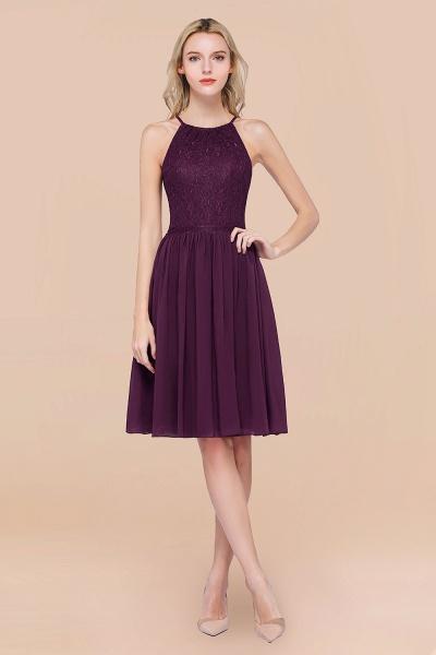 A-line Chiffon Lace Jewel Sleeveless Knee-Length Bridesmaid Dresses with Ruffles_20