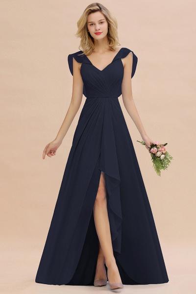 BM0777 Simple Hi-Lo V-Neck Ruffles Long Bridesmaid Dress_28