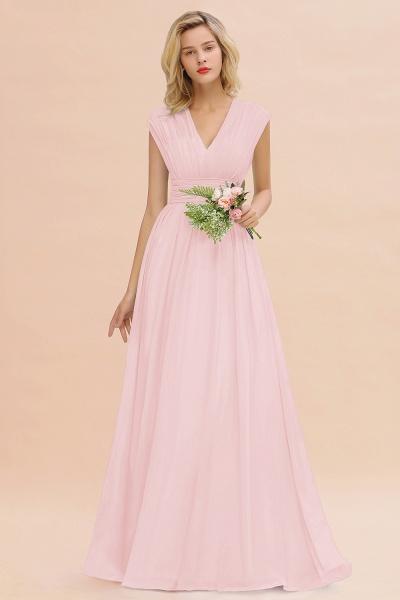 BM0774 Chiffon V-Neck Sleeveless Elegant A-line Ruffles Bridesmaid Dress_3
