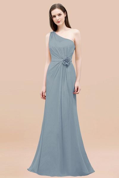 Mermaid Chiffon One-shoulder Sleeveless Ruffled Floor-Length Bridesmaid Dresses with Flower_40