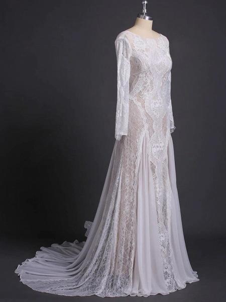 Elegant Long Sleeve Lace Sheath Wedding Dress_4