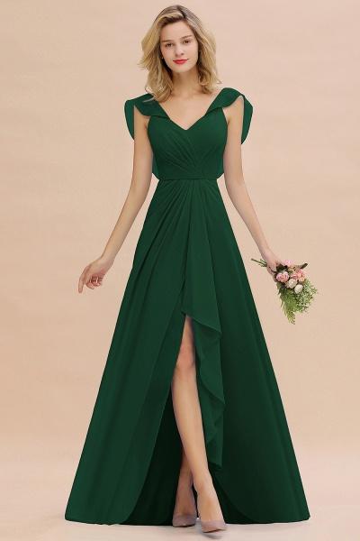 BM0777 Simple Hi-Lo V-Neck Ruffles Long Bridesmaid Dress_31