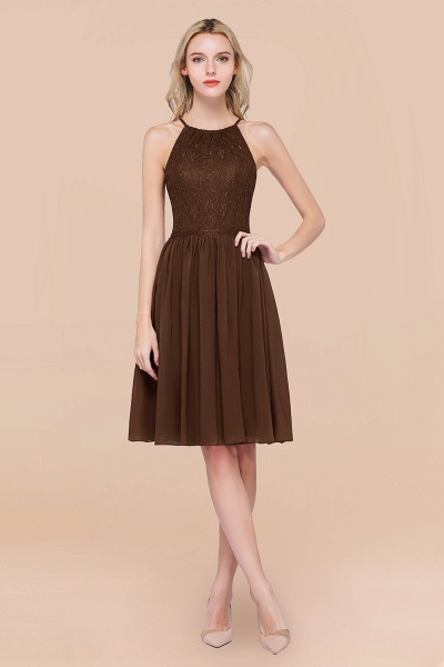 A-line Chiffon Lace Jewel Sleeveless Knee-Length Bridesmaid Dresses with Ruffles_12