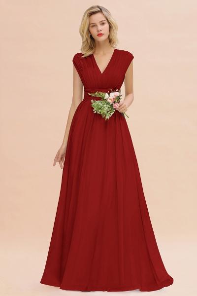 BM0774 Chiffon V-Neck Sleeveless Elegant A-line Ruffles Bridesmaid Dress_48