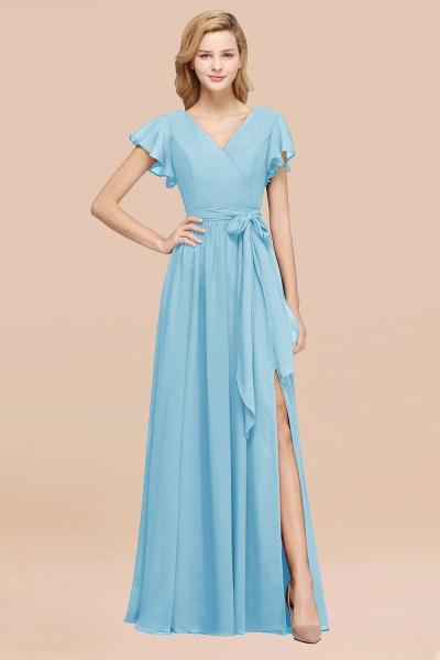 elegant A-line Chiffon V-Neck Short-Sleeves Floor-Length Bridesmaid Dresses with Bow Sash_23
