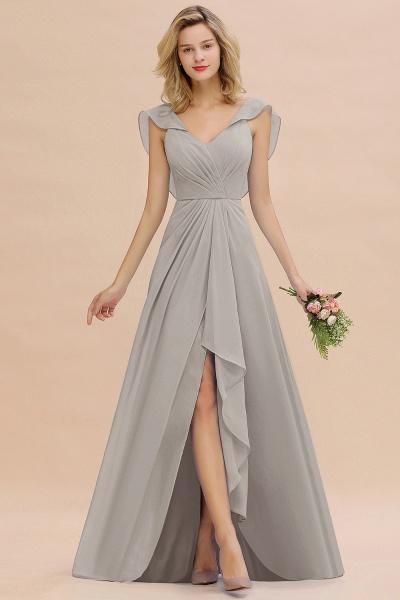 BM0777 Simple Hi-Lo V-Neck Ruffles Long Bridesmaid Dress_30