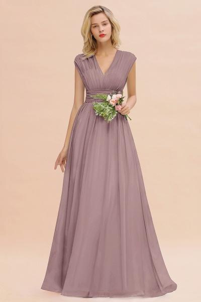 BM0774 Chiffon V-Neck Sleeveless Elegant A-line Ruffles Bridesmaid Dress_37