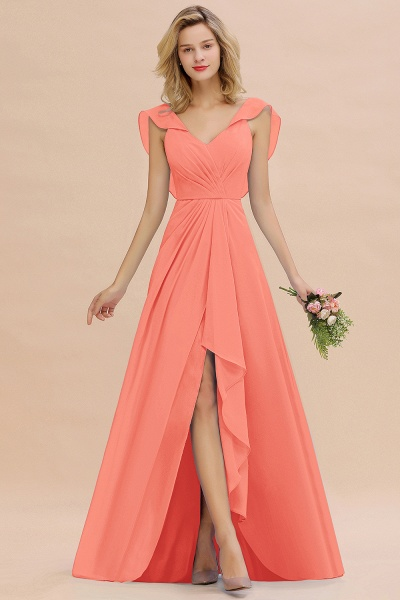BM0777 Simple Hi-Lo V-Neck Ruffles Long Bridesmaid Dress_45