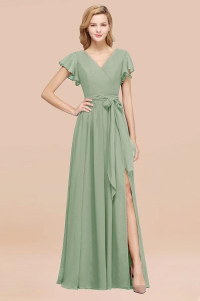 elegant A-line Chiffon V-Neck Short-Sleeves Floor-Length Bridesmaid Dresses with Bow Sash_41
