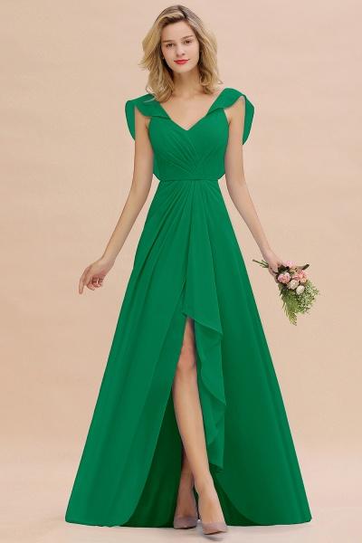 BM0777 Simple Hi-Lo V-Neck Ruffles Long Bridesmaid Dress_49