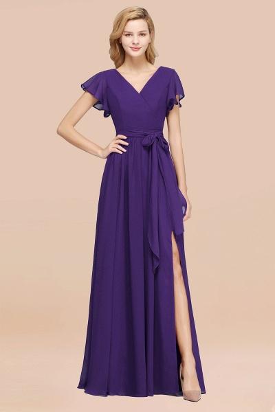 elegant A-line Chiffon V-Neck Short-Sleeves Floor-Length Bridesmaid Dresses with Bow Sash_19