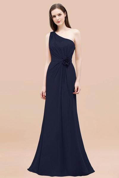 Mermaid Chiffon One-shoulder Sleeveless Ruffled Floor-Length Bridesmaid Dresses with Flower_28