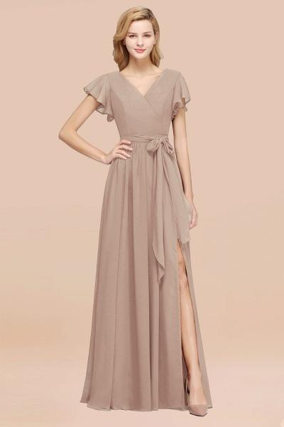 elegant A-line Chiffon V-Neck Short-Sleeves Floor-Length Bridesmaid Dresses with Bow Sash_16