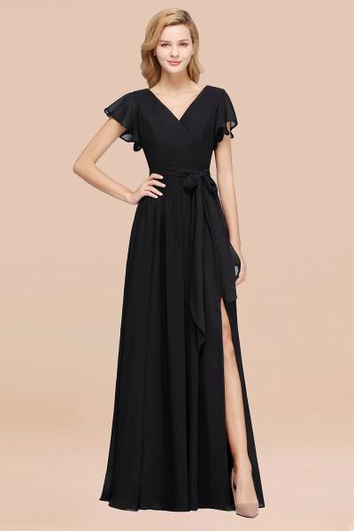 elegant A-line Chiffon V-Neck Short-Sleeves Floor-Length Bridesmaid Dresses with Bow Sash_29