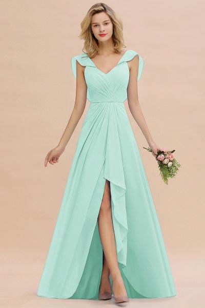 BM0777 Simple Hi-Lo V-Neck Ruffles Long Bridesmaid Dress_36