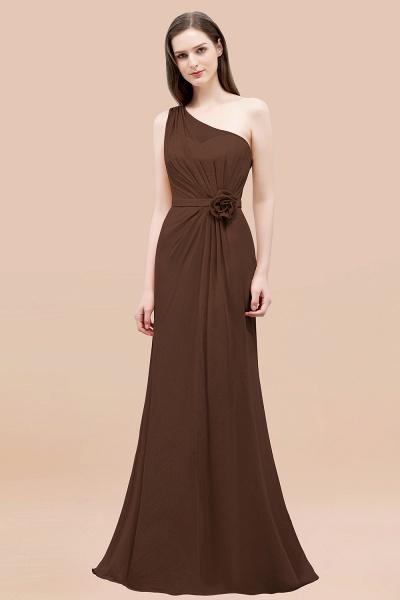 Mermaid Chiffon One-shoulder Sleeveless Ruffled Floor-Length Bridesmaid Dresses with Flower_12