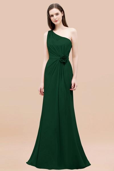 Mermaid Chiffon One-shoulder Sleeveless Ruffled Floor-Length Bridesmaid Dresses with Flower_31
