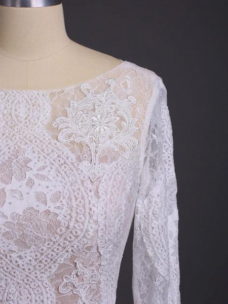 Elegant Long Sleeve Lace Sheath Wedding Dress_8