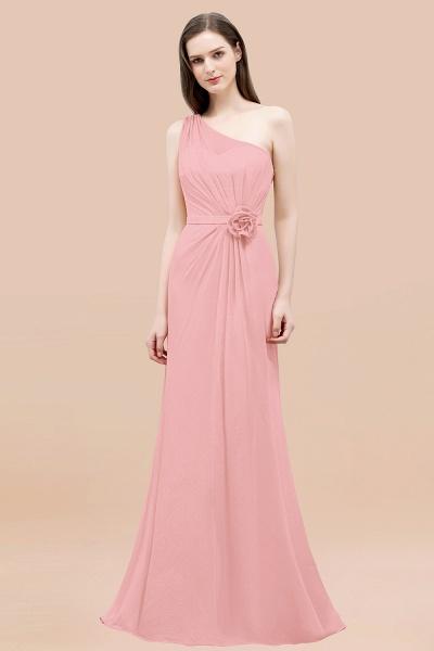 Mermaid Chiffon One-shoulder Sleeveless Ruffled Floor-Length Bridesmaid Dresses with Flower_4